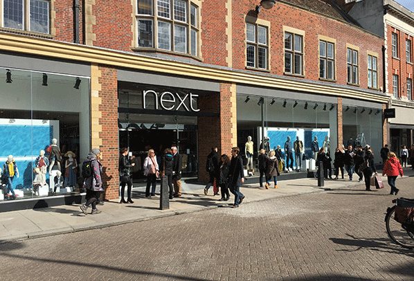 Next high street stores shopfronts planned and designed and completed with fit-out